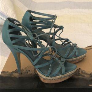 Blue platform high heel sandals